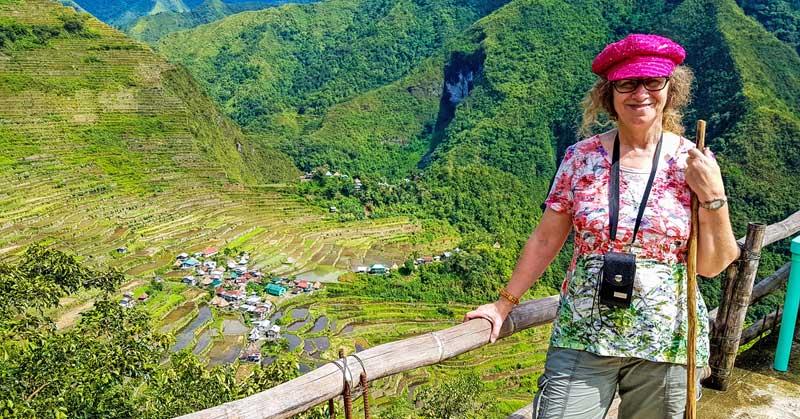 Linda Aksomitis above the Batad village.