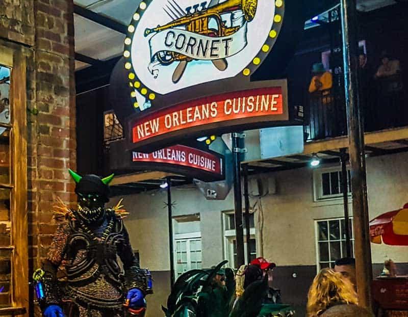 Mardi Gras costumes on Bourbon Street.