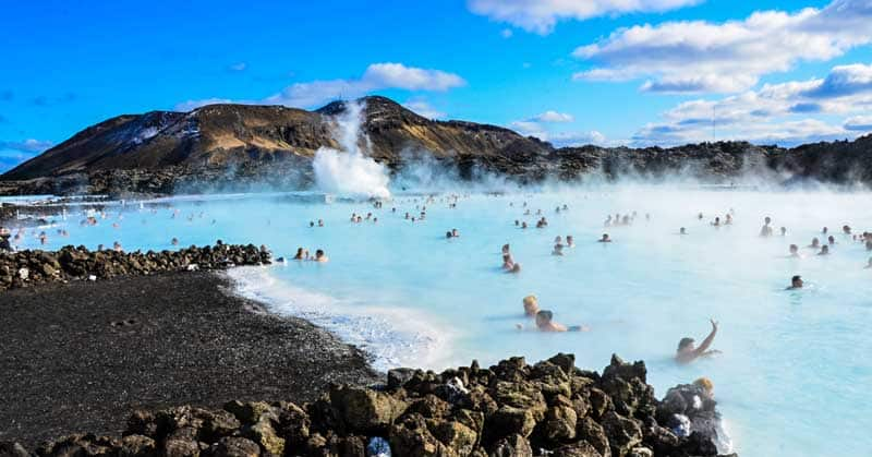 People bathing in the Blue Lagoon in Iceland