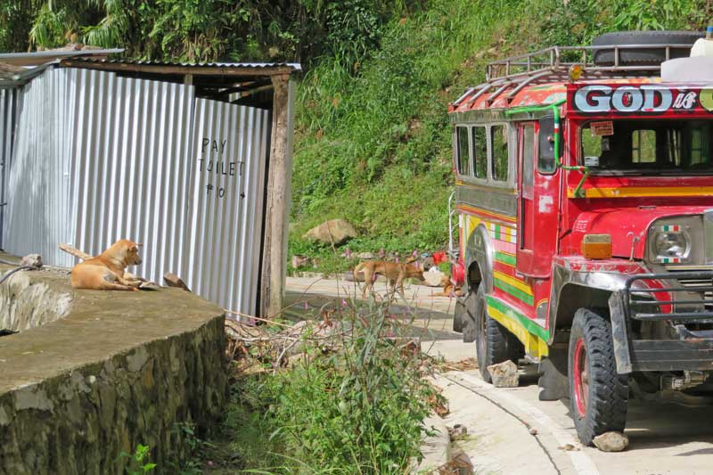 Jeepney parked where the road ends, next to a tin-covered pay toilet.