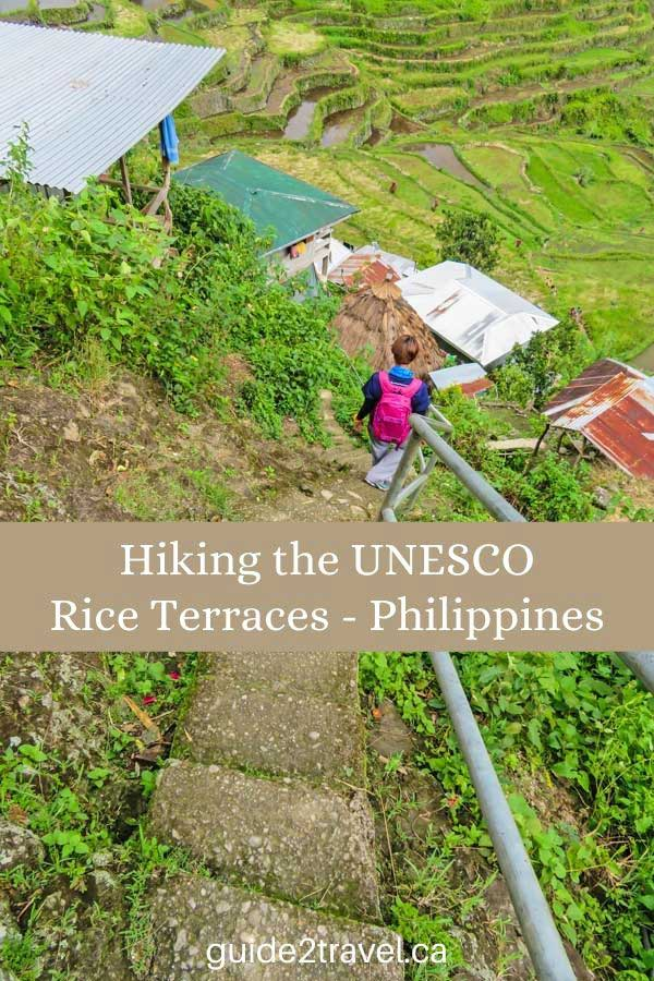 Hiker on the UNESCO Rice Terraces in the Philippines.