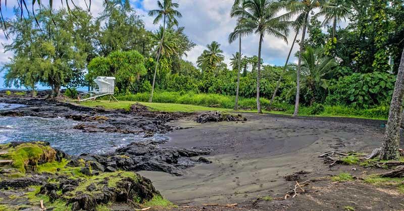 Richardson Ocean Park black sand beach on the Big Island of Hawaii.