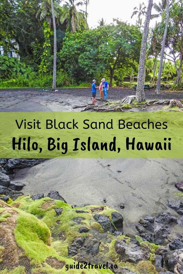 Black sand beach in Hilo, Big Island, Hawaii