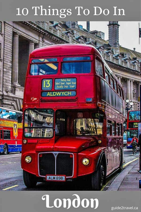Red double-decker bus in London.