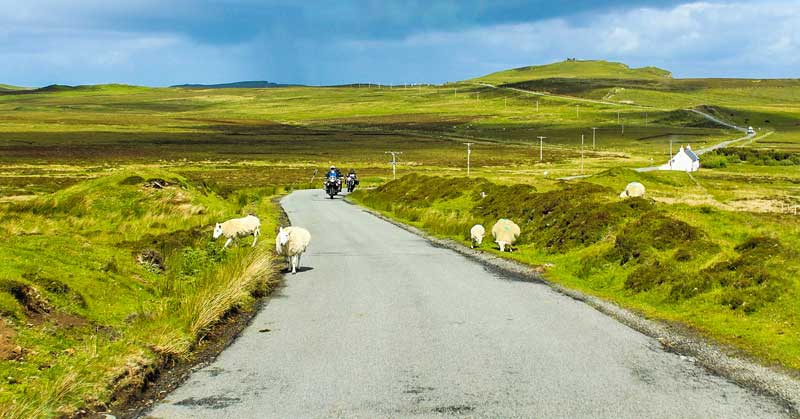 Enjoy the Scottish countryside on your motorcycle road trips.