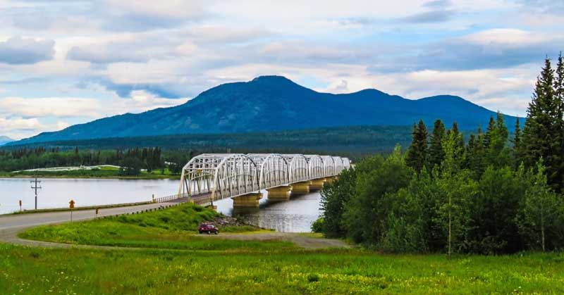 Nisutlin Bay Bridge crossing the narrowest point of Teslin Lake.