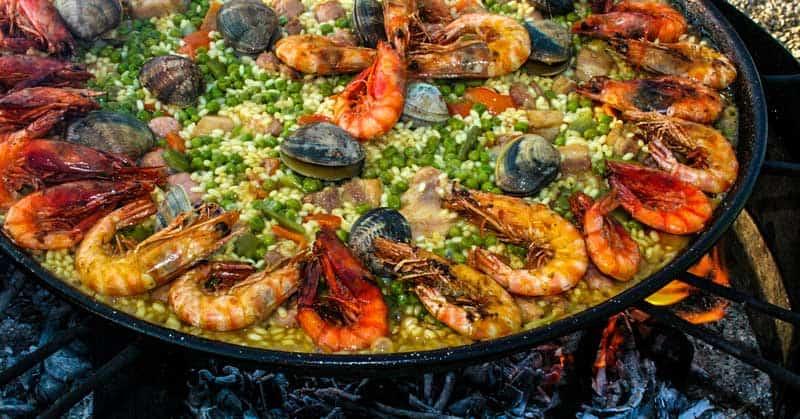 Paella Valencia seafood.