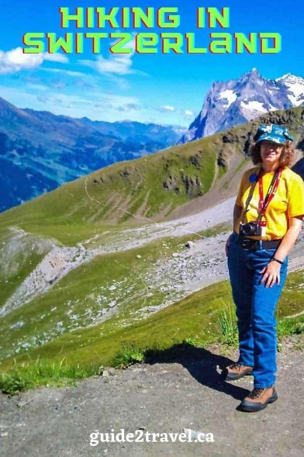 Linda Aksomitis from guide2travel.ca hiking in Switzerland.