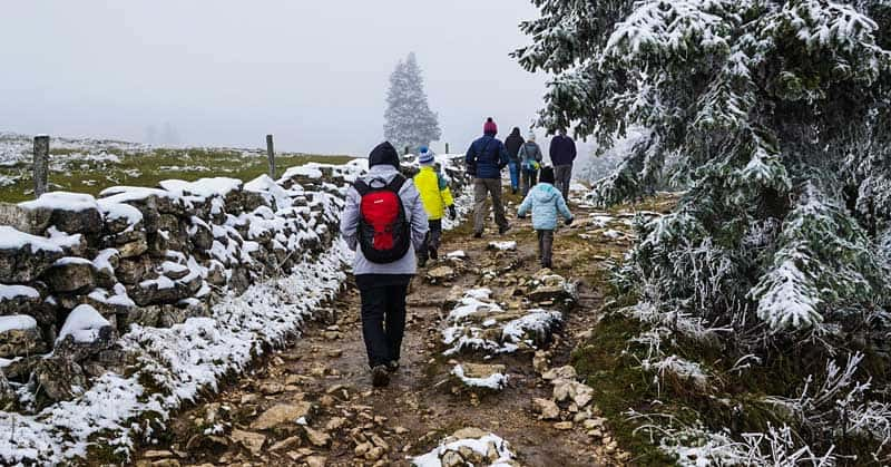 Hiking the Creux du Van in Switzerland.