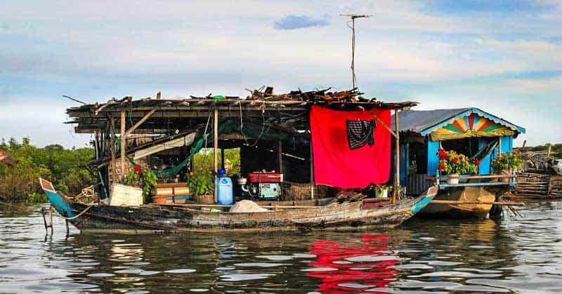 Floating house boat on Tonle Sap Lake.