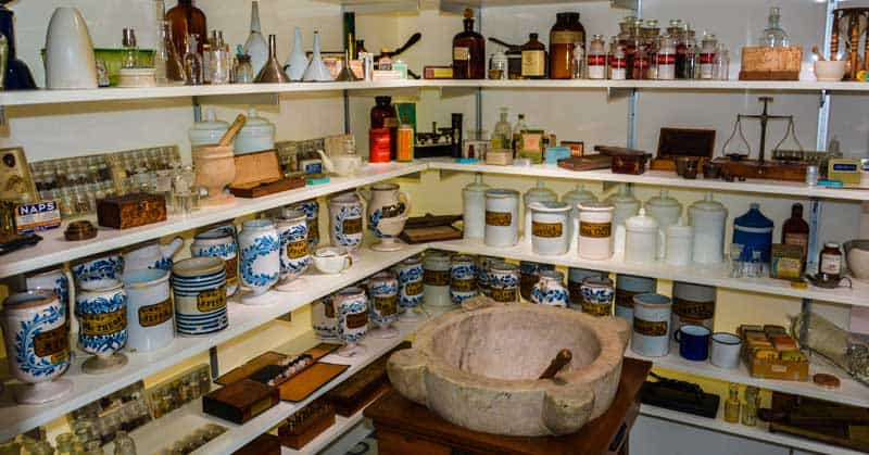 Natural remedies on display in the Ursuline Convent Museum in Quebec City, Quebec.