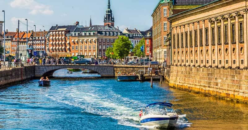 Old City and canal in Copenhagen, Denmark.
